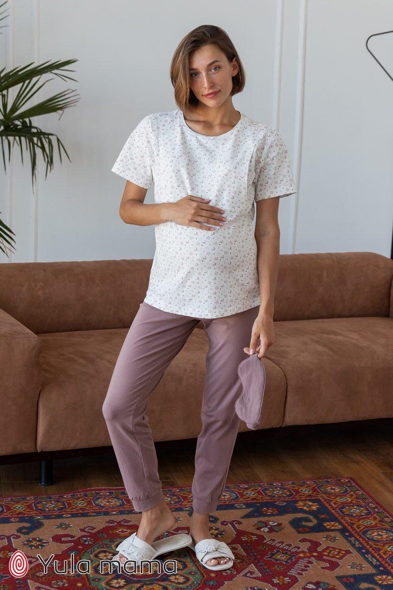 Хлопковые брюки для беременных Lynn капучино