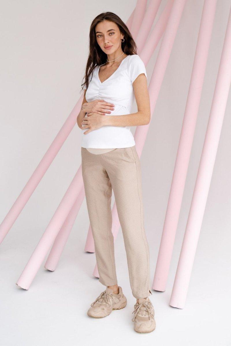 Штани для вагітних 1153732 бежевий
