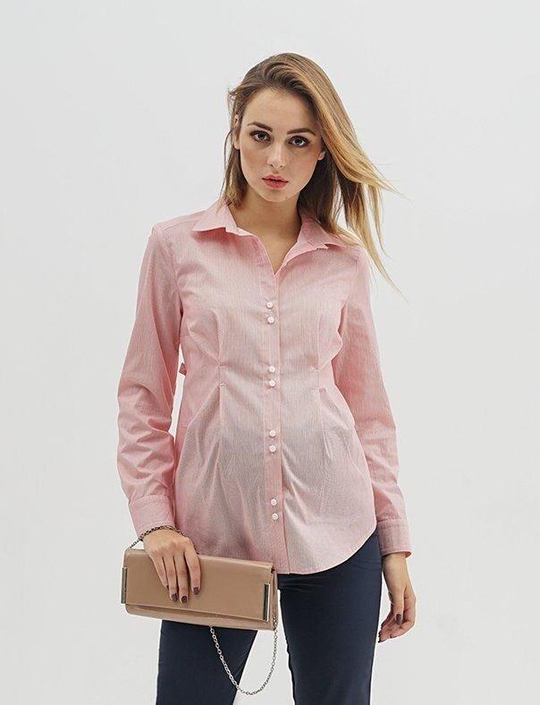 Рубашка для беременных 1308224 красная полоска