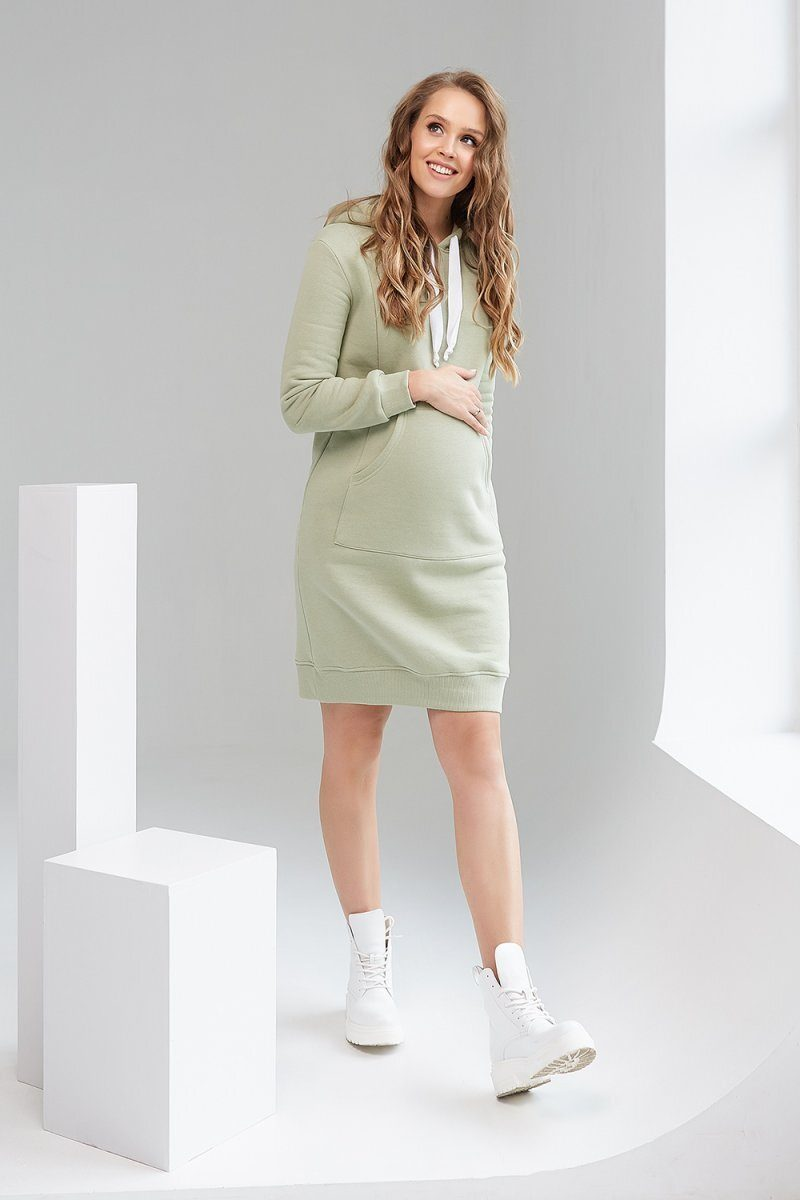 Платье-худи для беременных и кормящих 1927-0000 фисташковый