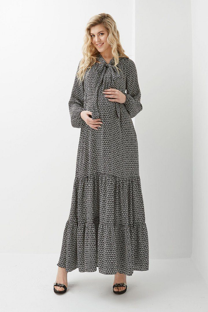 Платье для беременных и кормящих 2015 1308 черно-белое