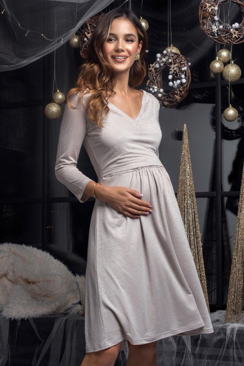 Платье трикотажное с люрексом Shine (беж)