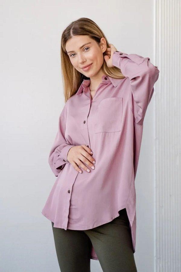 Блуза-рубашка для беременных 2101755 пудра