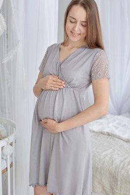 Ночная рубашка для беременных и кормящих Grace (дымчатый)