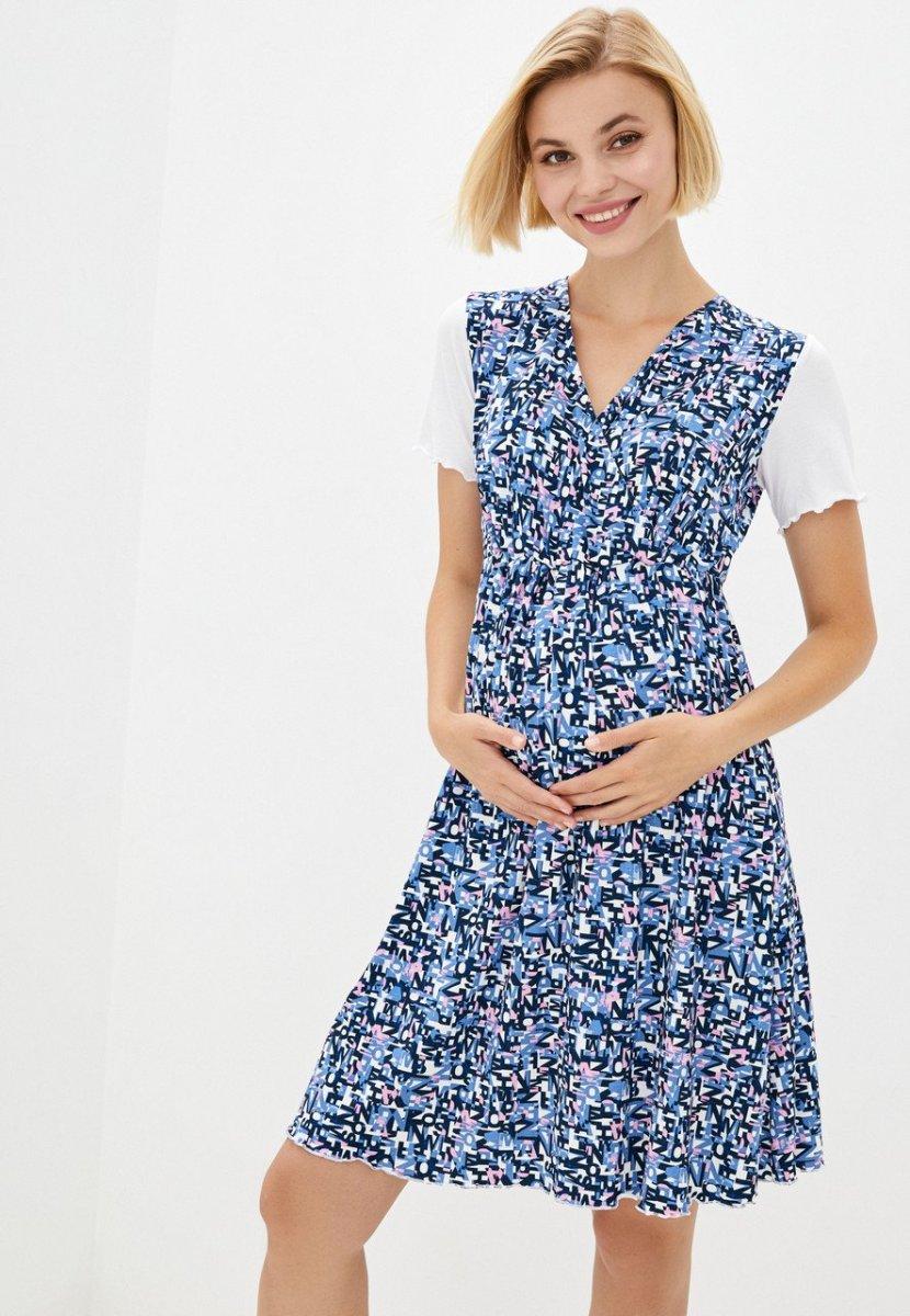 Сорочка домашняя для беременных и кормящих (blue)