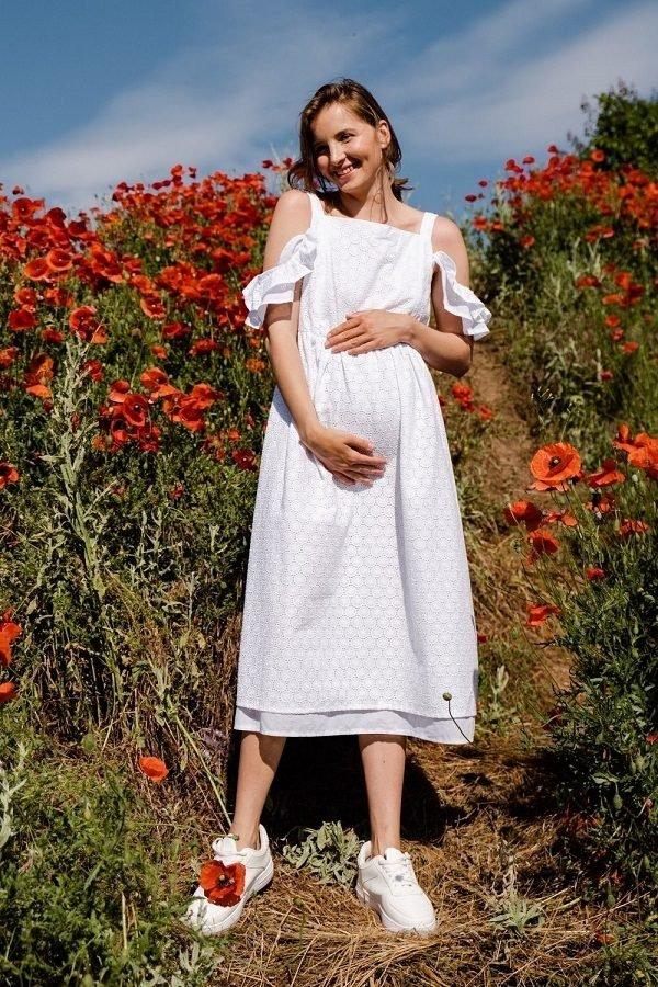 Платье для беременных и кормящих 2710753 белое
