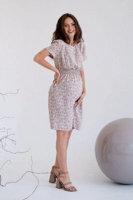 Платье для беременных и кормящих 3178745 бежевый