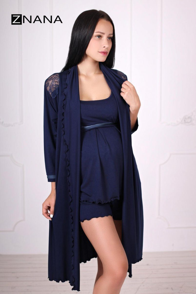 Комплект Lace темно-синий (халат + пижама)