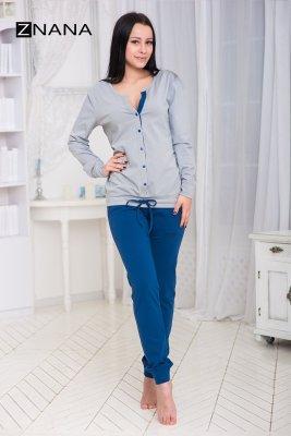 Костюм домашний (пижама) NICE утепленный джинс/серый