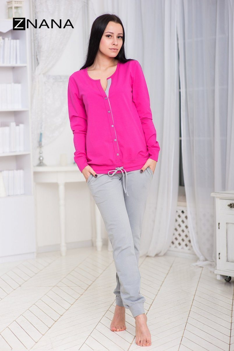 Костюм домашний (пижама) NICE утепленный малина/серый