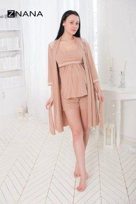 Комплект Lace світлий беж (халат + піжама) для вагітних і годуючих