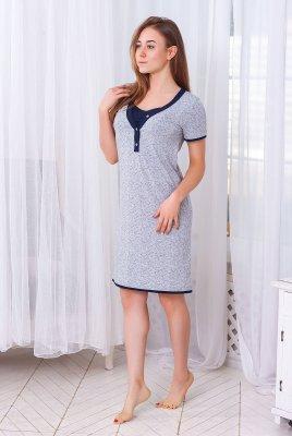 Нічна сорочка для вагітних і годування Favorite листочок / т. синій