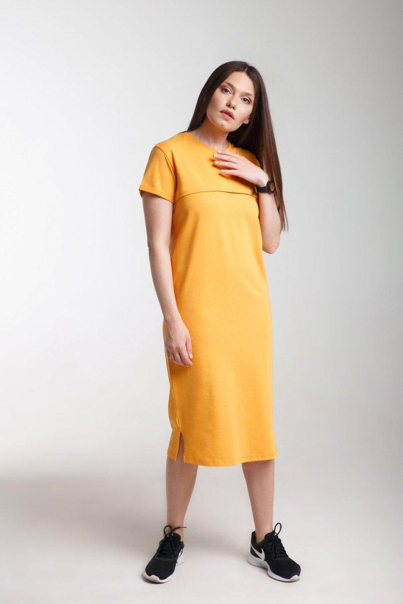 Платье для беременных и кормления Move горчица