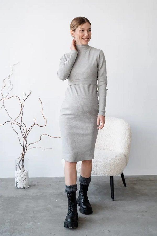 Сукня для вагітних і годуючих 4217133 світло-сіра