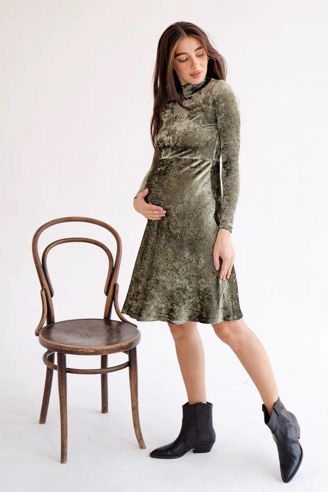Платье для беременных 4226126 тёмно-зелёный