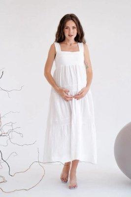 Муслиновый сарафан для беременных 4323746 белый