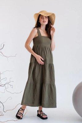 Муслиновый сарафан для беременных 4323746 хаки