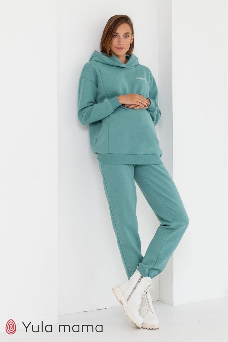 Теплые брюки-джоггеры для беременных Celia warm полынь