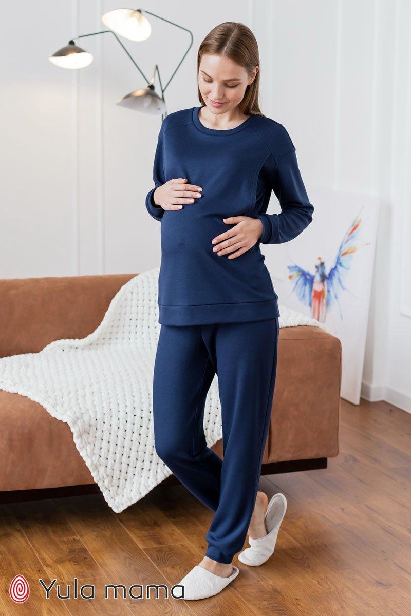 Теплая пижама для беременных и кормящих Wendy темно-синий