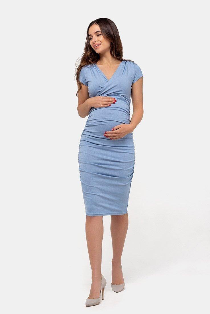 Платье-футляр для беременных и кормящих (пепельно-голубой)