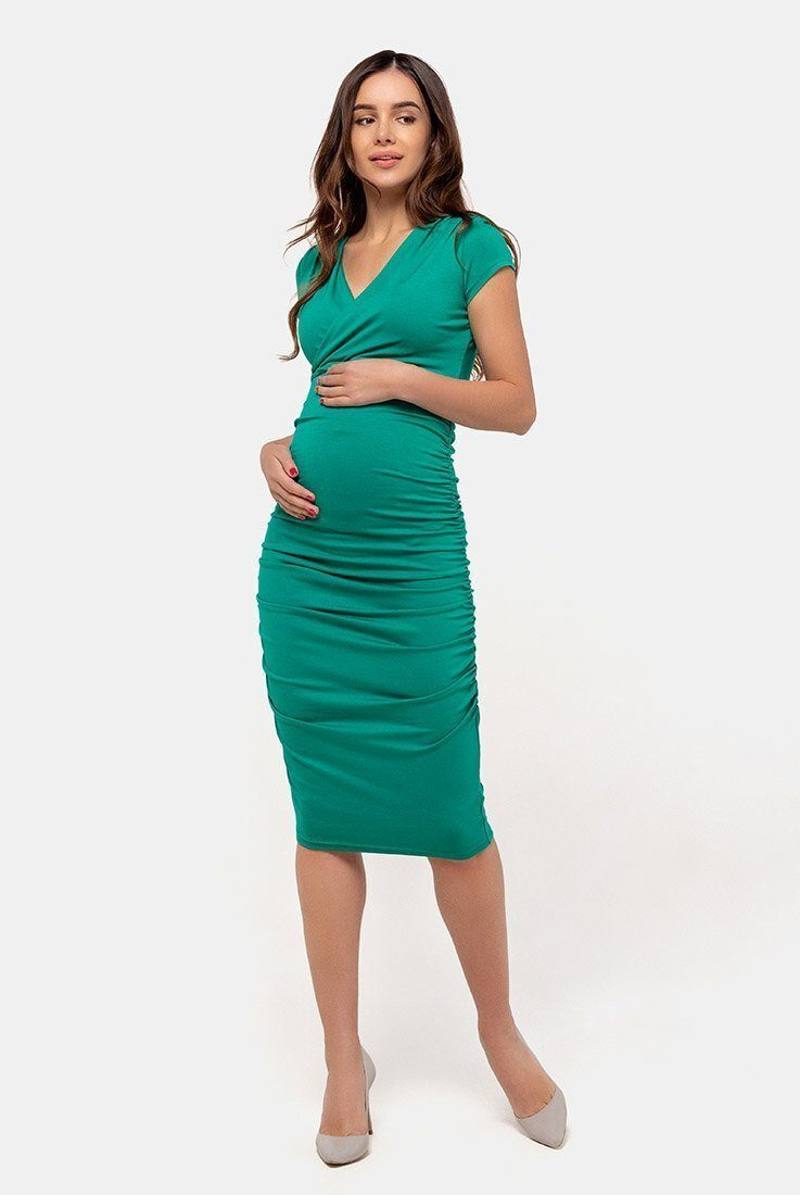Плаття-футляр для вагітних і годуючих (смарагд)