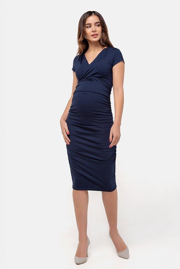 Платье-футляр для беременных и кормящих (тёмно-синий)