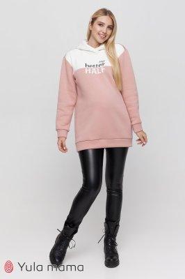 Теплі штани для вагітних з еко-шкіри Elle-sale