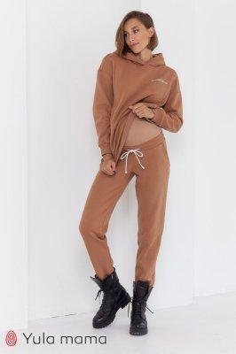 Теплые брюки-джоггеры для беременных Celia warm кэмел