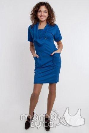 Платье с воротом - королевский синий а103.3 sale