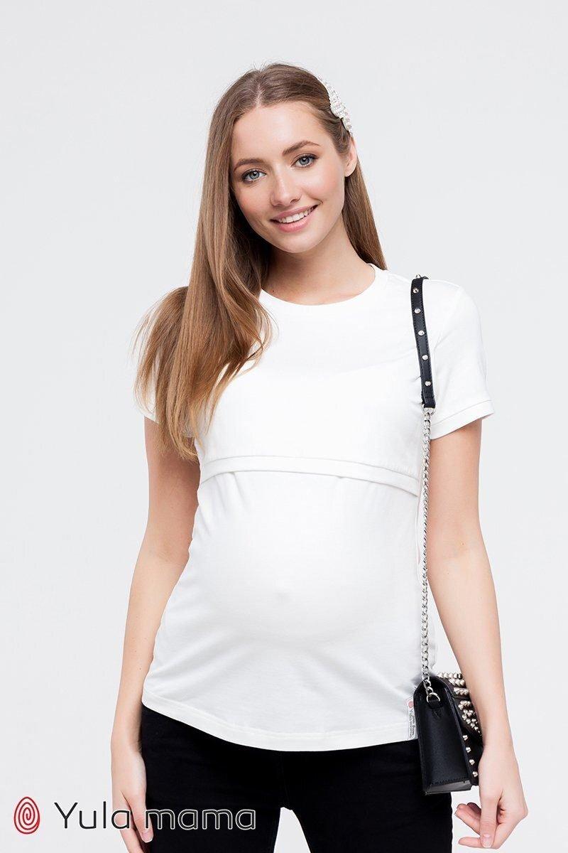 Футболка для беременных и кормящих Margo молочная