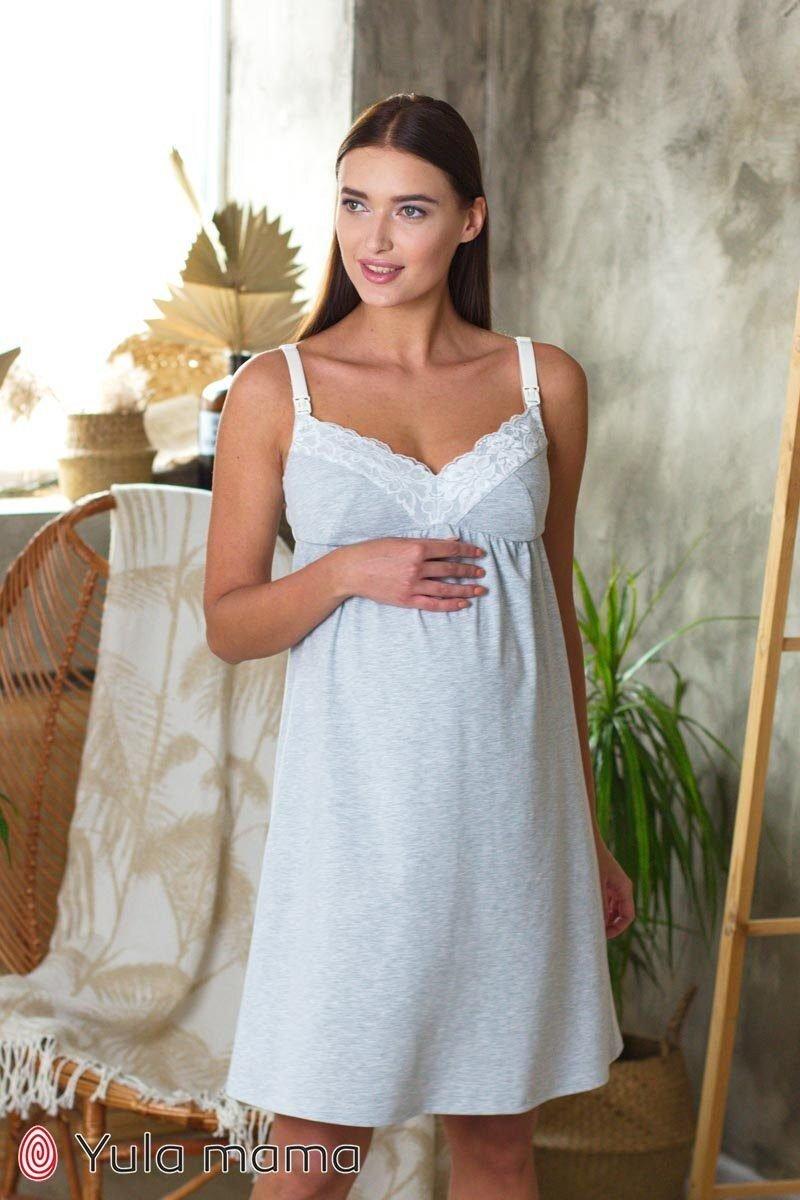 Ночнушка для беременных и кормящих Monika new серый меланж