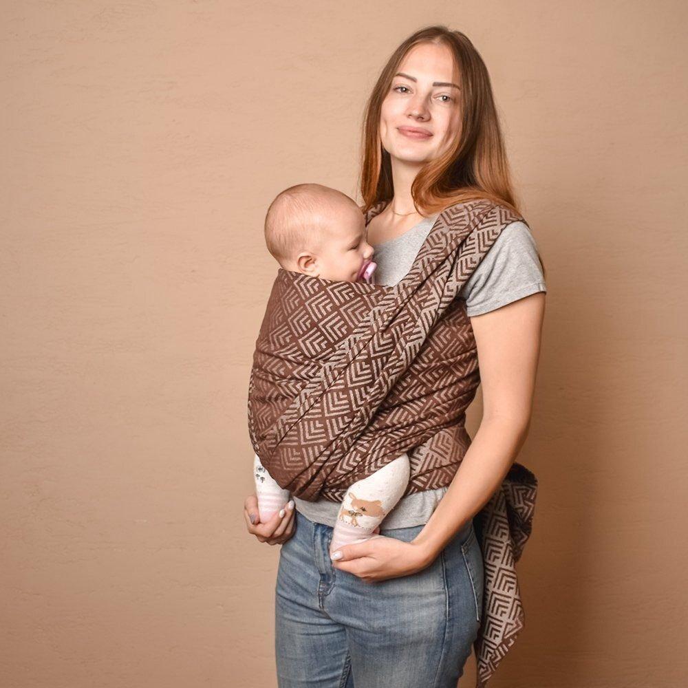 Тканый жаккардовый слинг шарф шоколадный Geometry