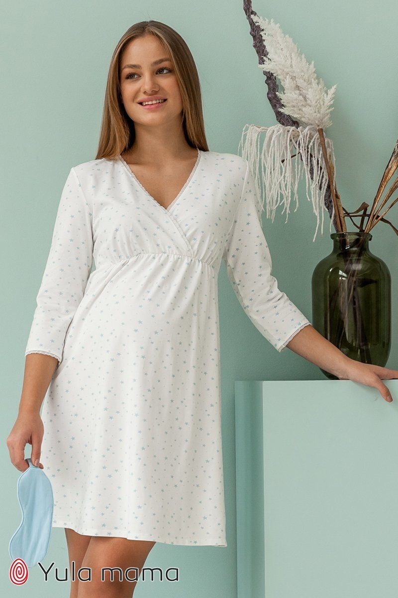 Нічна сорочка для вагітних і годуючих Alisa блакитні зірки