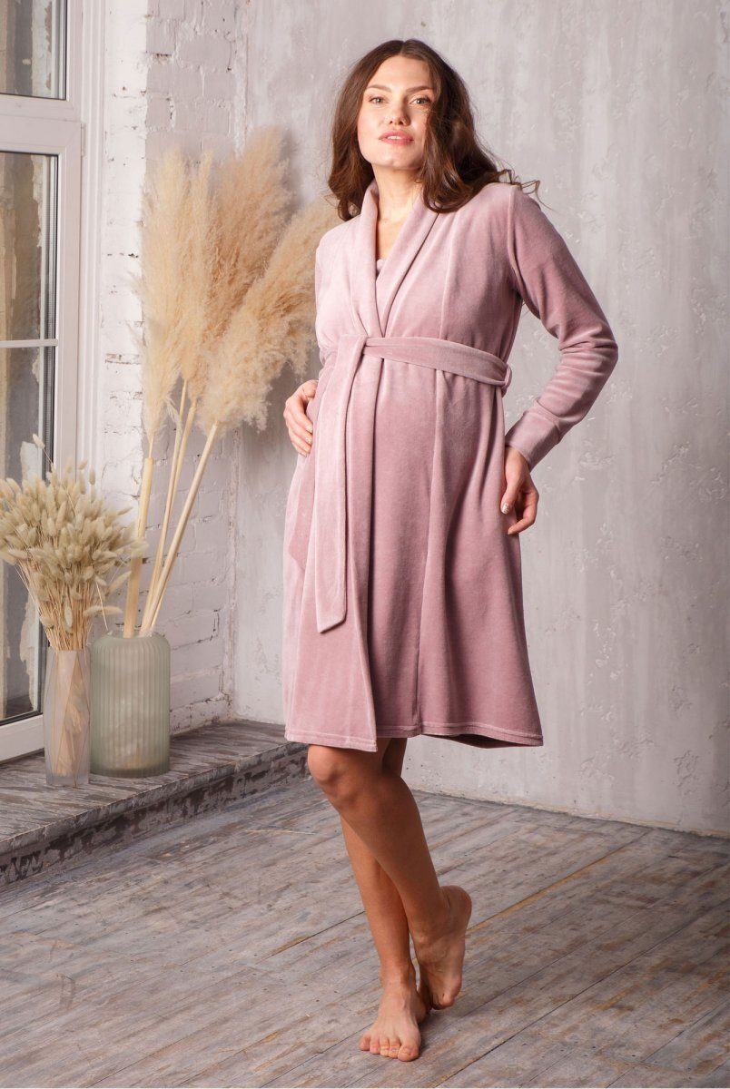 Халат для вагітних і годування care велюровий пудра-беж