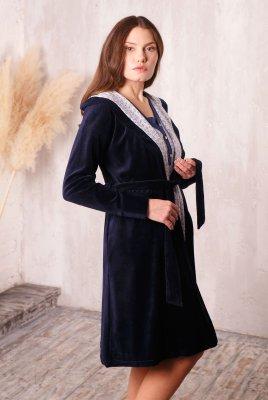 Халат Care з капюшоном велюровий т. синій для вагітних
