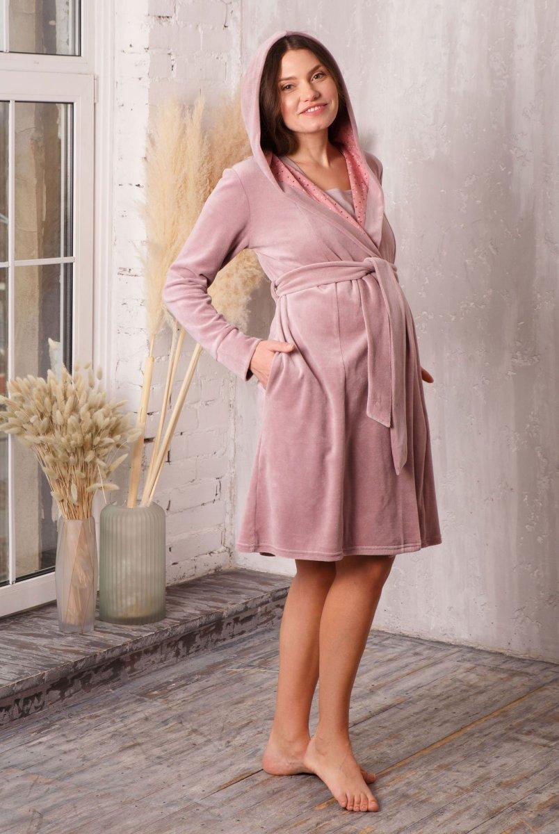 Халат для беременных и кормления Care с капюшоном велюровый пудра-беж