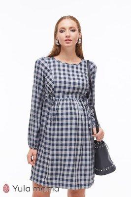Платье для беременных и кормящих Loraine клетка синий
