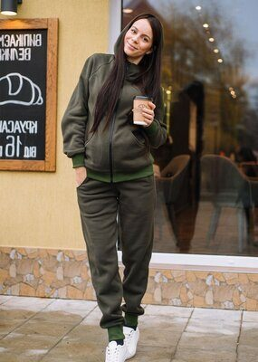 Теплый костюм MoNo (футер на флисе хаки)