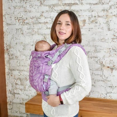 Слинг рюкзак для новорожденных Adapt сиреневый Feathers (0-48 мес)