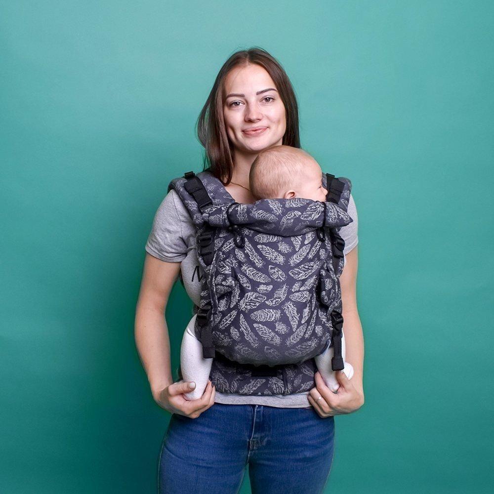 Ерго рюкзак з народження Adapt сірий Feathers (0-48 міс)