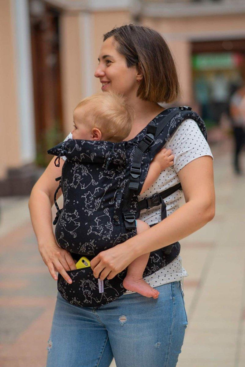 Слинг рюкзак для новорожденных Adapt черный Unicorns (0-48 мес)
