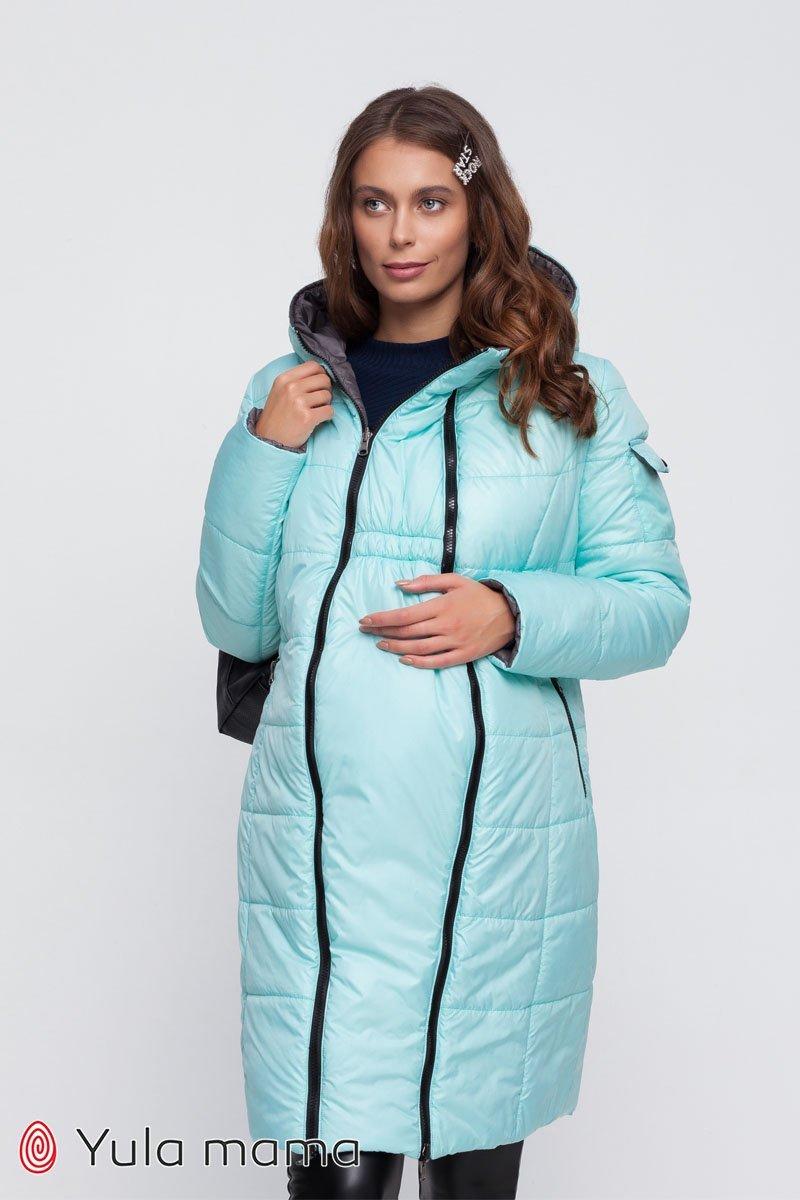 Двухстороннее пальто для беременных Kristin серый со светлой мятой