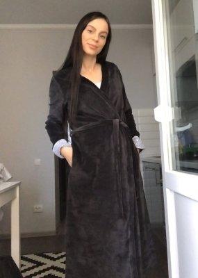 Теплый комплект в роддом халат + ночная Celine (халат велюр + ночная)