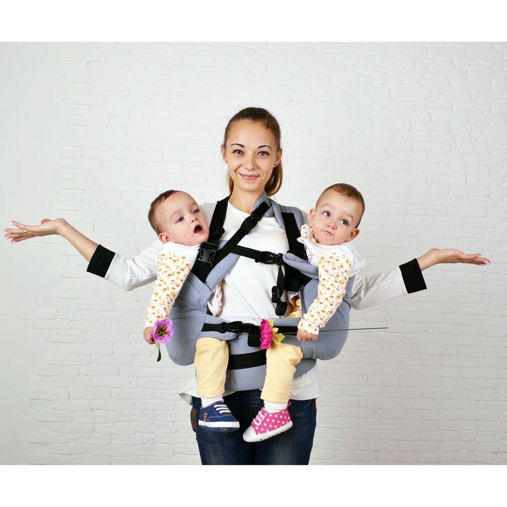 Ерго рюкзак для двійні Front Basic сірий